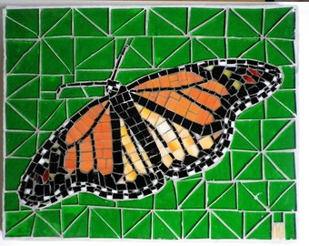 Butterfly Female Monarch Mosaic Green