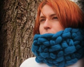 Giant Knit Cowl : Super Luxurious Thick and Bulky Wool Knit Scarf - Runway Style - Street Style
