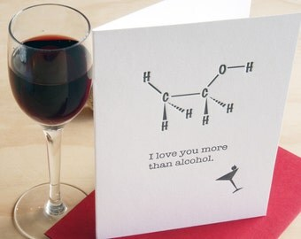 Mother's Day, Father's Day Molecular structure molecule card - Letterpress 'I love you more than alcohol' geekery made in Australia