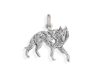 Wolf Charm 925 Sterling Silver Pendant Walking Animal