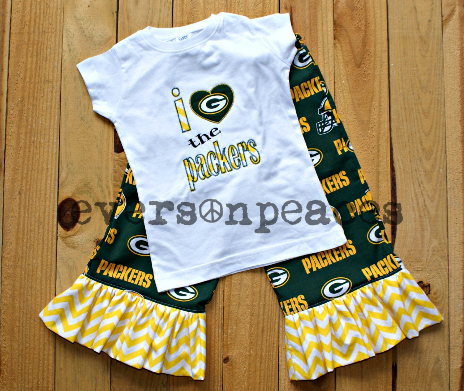 GREEN BAY PACKERS 2Pc Ruffled Chevron Pants Outfit For Baby