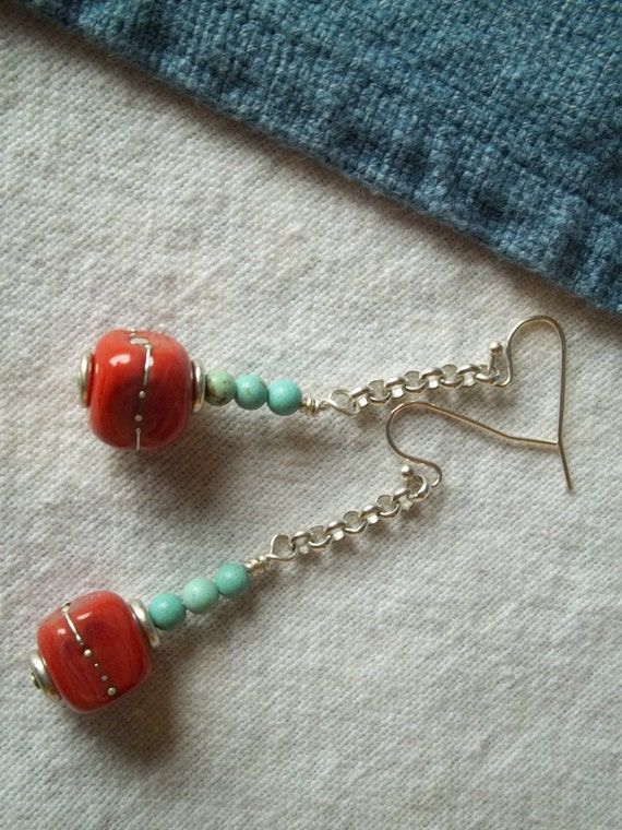 Southwest Boho ChicTurquoise and Coral Colored Lampwork Country Chic Western Dangle Drop Boho Earrings