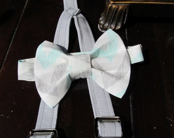 Bow tie, Bowtie, Chevron blue and grey and Suspender Set, Bowtie and Suspender set for newborn, toddler and boys