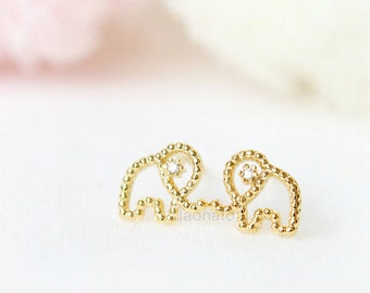 Dotted Elephant Earrings / Choose your color / gold and silver