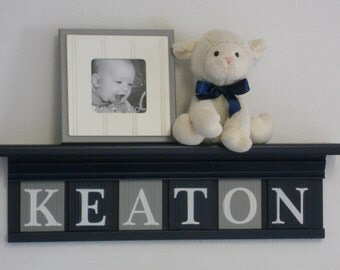 Navy and Gray Nursery Decor - Baby Boy Gift - Personalized Navy Blue Shelf with Wood Wall Letters in Grey and Navy