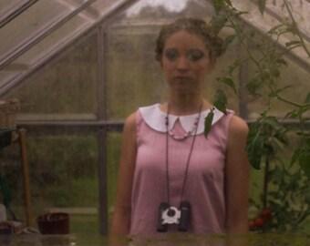 pink cotton peter pan collar shift dress 60s mod indie moonrise kingdom suzy bishop