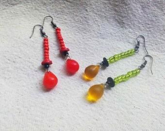 YEYE African Maliwedding glass teardrop earrings red and yellow earrings by Fianaturals