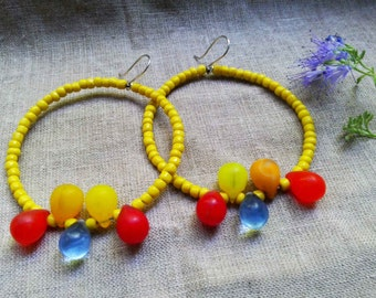 YEYE African Mali wedding glass yellow red orange blue bohemian hippie style  hoop earrings