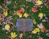 The Westwood Purse in Tan Waxed Canvas with Chambray Contrast and Whiskey Tan Leather Straps