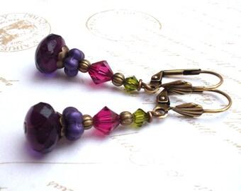 Colorful bead earrings, Boho crystal brass earrings, purple green, colorful handmade jewelry, bead jewelry.