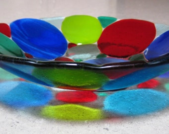 Fused Glass Bowl with Circles in Blues, Greens and Red.