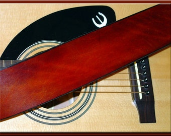 TRADITIONAL LIGHT BROWN Strap • A Simple and Beautifully Hand Dyed, Hand Crafted Leather Guitar Strap