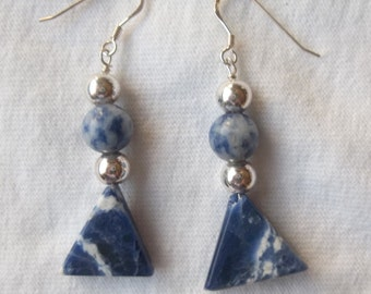 Sodalite Triangle Earrings
