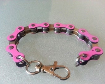 Bike Chain Bracelet  Pink and Silver Two-Tone - BCPSIL