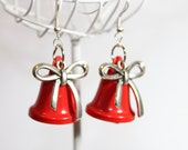 Vintage Metal Bells w/ Bow charms earring.  Christmas Bell actually rings!