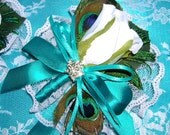 Peacock and Rose Bud Wrist Corsage, Pin On Corsage