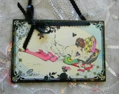 French Mademoiselle Young Lady Reading With Tea and Pillows Decorative Plaque Wall Hanging