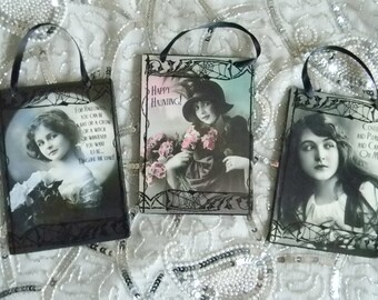 Set of Three Fun and Girly Halloween Decorative Plaques