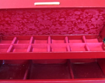 Take 20% Off Never Used Stunning Burgundy & Scarlet Brocade Satin Jewelry Box