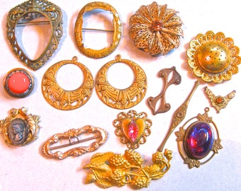 Take 20% Off 15 Piece Vintage Ornate STAMPED BRASS JEWELRY Pieces