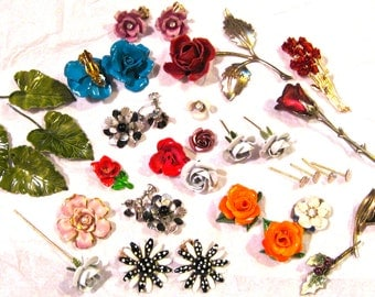 Take 20% Off 45 Vintage FANCY Enamel, Metal, Lucite Flowers & Foliage Jewely Collection