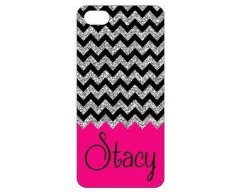 iPhone 4 4s 5 5s 5c 6 6 plus iPod Touch 4 5 Personalized Custom Chevron (NOT real glitter) HaRD, RuBBeR, or BuMPeR case
