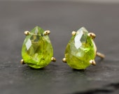 Peridot Studs - August Birthstone Earrings -  Post Earrings - Gold Stud Gemstone Earrings - Tear drop Studs