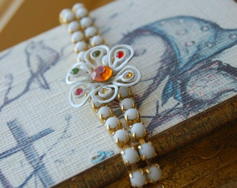 Vintage Bracelete - Mid-Century Milk Glass and Enameled Flower