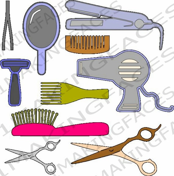 Hair Grooming Tools 2 Scissors Flat Iron Blow Dryer Razor