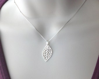 Sterling silver leaf necklace, filigree pendant, 925 silver box chain nature minimalist, everyday jewelry, gift for mom N158B