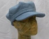 Recycled denim hat.