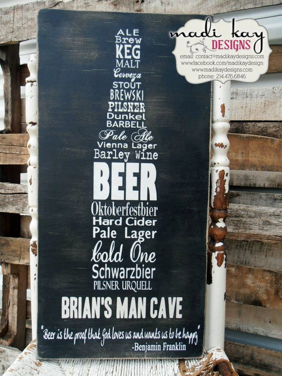 Personalized Man Cave Sign on Wood or Canvas,  Beer Sign, Bar Sign, Pub Sign, Vintage Bar Sign, Rustic Sign, Wedding Gift, Grooms Gift