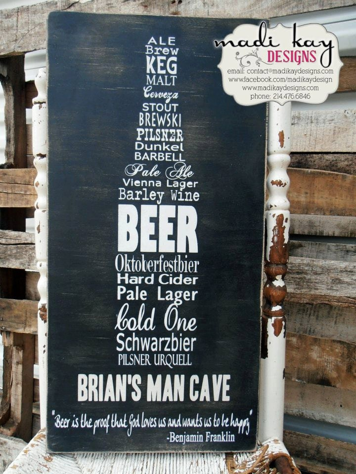 Man Cave Canvas Signs : Personalized man cave sign on wood or canvas by madikaydesigns