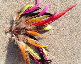 Tender ~ Feather Ear Cuff : Copper Wire - Green/Yellow/Natural Feathers