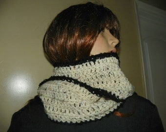 Aran Fleck Scarf  with a Black Trim  and is Extra Long  Hand Crochet