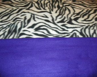 Zebra Fleece Receiving Baby Blanket with a Purple Backing  Perfect for a Baby Shower Gift  Choose from Tied or Sewn