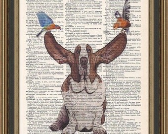 Basset hound dog with flying ears illustration is printed on a vintage dictionary page. Dog Print, Birthday Gift, Friend Gift.