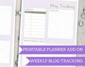 Purple Weave Blog Tracking - Planner Add On : DIGITAL FILE