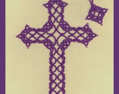 Tatted Lace Bookmark by Jan - Amethyst Trefoil Cross