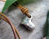 Rustic Artisan Heart Sterling Necklace on Adjustable Light Leather Strand