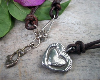 Rustic Artisan Heart Sterling Necklace on Dark Brown Leather Strand Sterling Clasp Bronze Charm