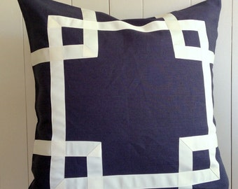 Greek Key Fretwork Navy Linen with White or Ivory - Pillow Cover