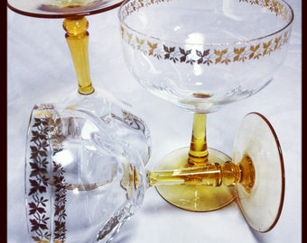 Vintage Champagne Glasses, Art Deco style, Gold leaf trim amber glass foot