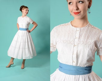 Vintage 1950s Eyelet Wedding Dress - White Bridal Fashions
