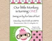 Girl Sock Monkey, Birthday Invitation, Sock Monkey Party, Baby Girl Birthday, Sock Monkey, Sock Monkey Decor, Birthday Party, Girls Party