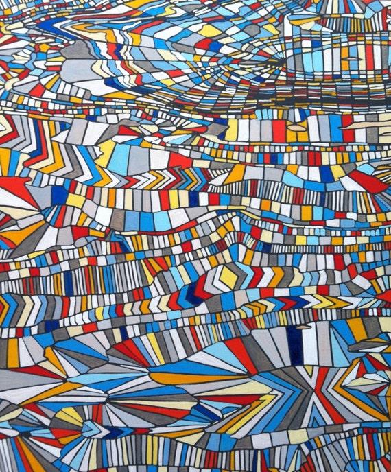 pittura arte moderna astratta geometrica originale su pannello
