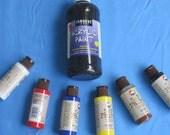 Eco Friendly Delta Soy Paints for Pictures and Crafts - Six Colors plus Sargent Black Acrylic Paint - 16 oz.