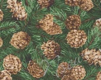 "Pinecone Fabric Hemlock Spruce Pine Tree Rustic Lodge """
