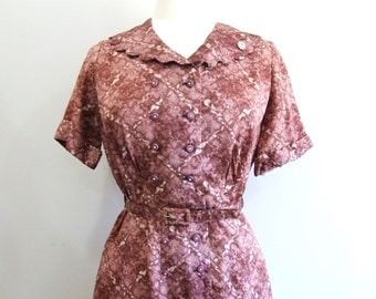 1950s Floral Dress Vintage 50s Full Skirt Shirtwaist Dress - L