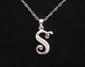 """925 sterling silver CZ Letter Initial """"S"""" pendant charm with necklace chain, personalized monogram necklace"""